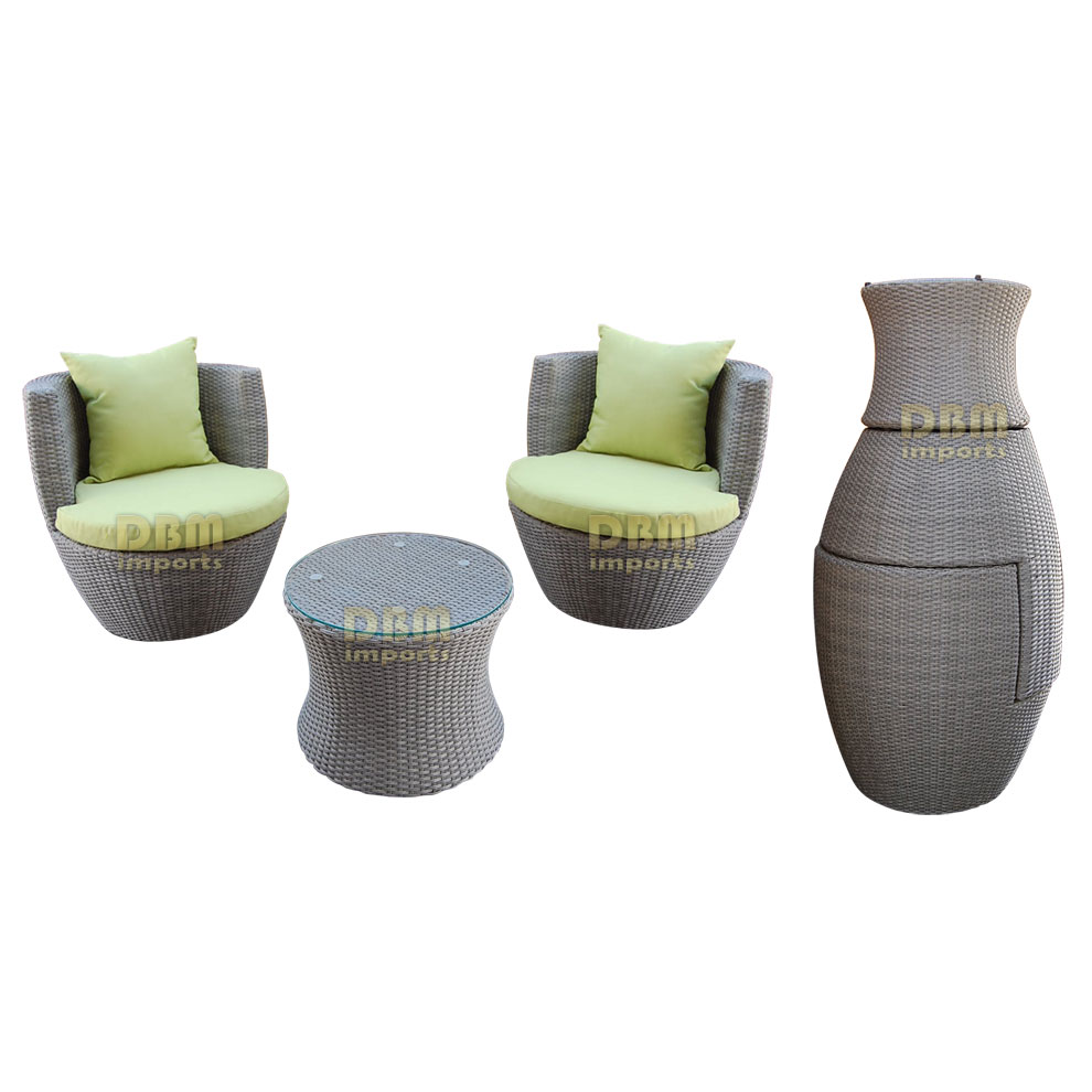 Gray - 3 Piece Wicker Rattan VASE Stackable Coffee Table Lounge Chairs ...