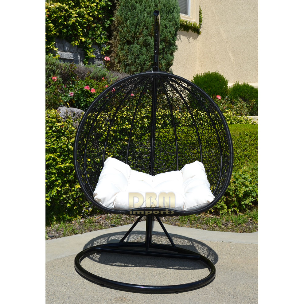 2 Persons Seater Bird Egg Nest Wicker Rattan Swing Lounge ...