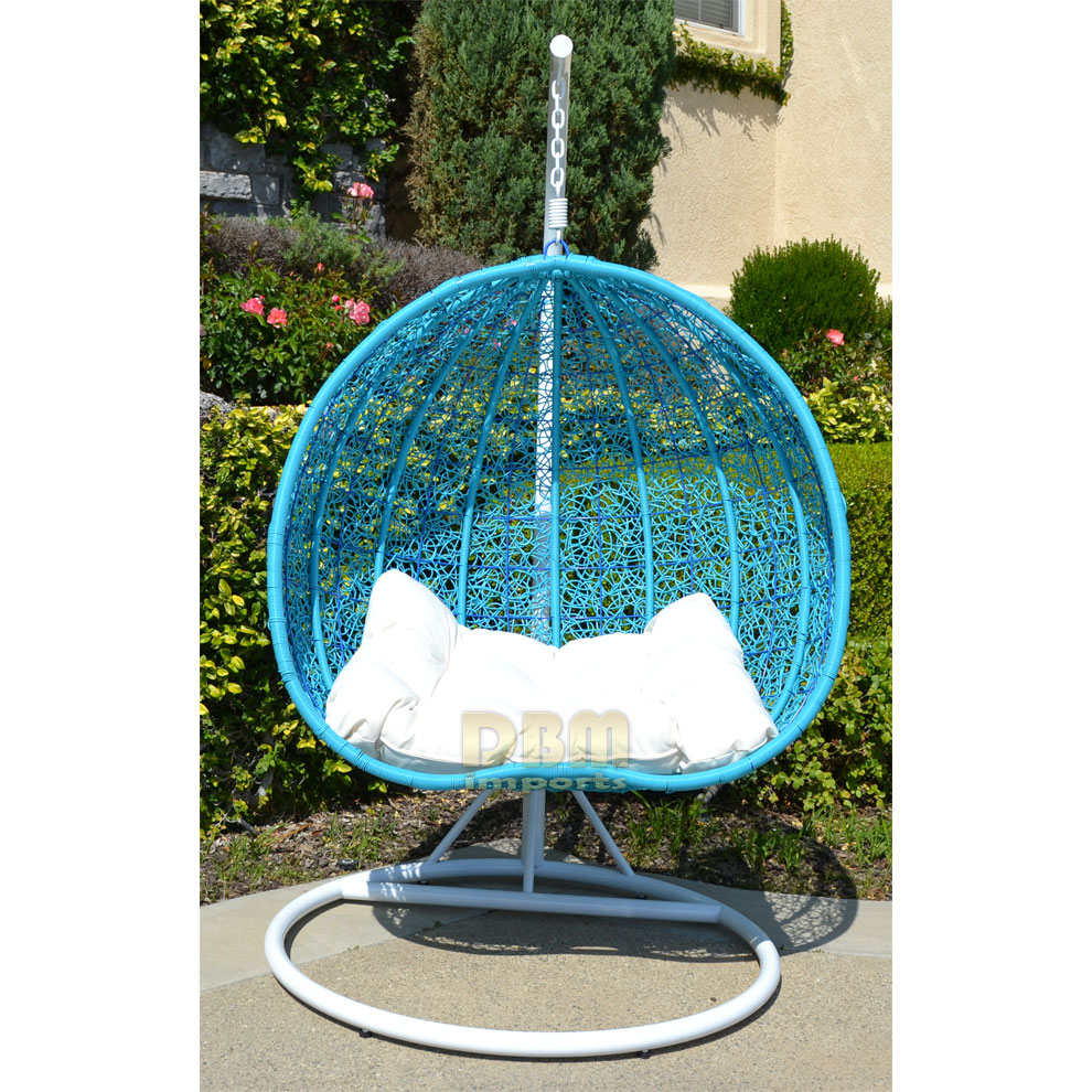 2 Persons Seater Bird Egg Nest Wicker Rattan Swing Lounge