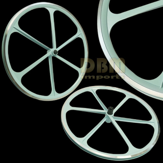 2 Teny ROAD BIKE RIM 700C x 23-25C Magnesium Alloy 6 Spoke Bicycle - Baby Blue