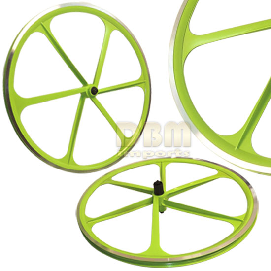 2 Teny ROAD BIKE RIM 700C x 23-25C Magnesium Alloy 6 Spoke Bicycle - GREEN