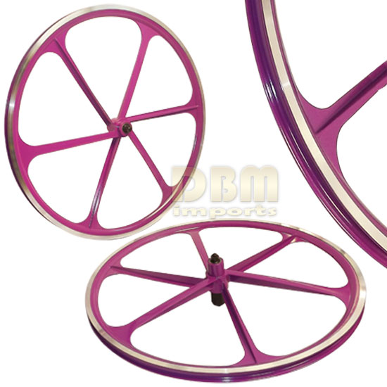 2 Teny ROAD BIKE RIM 700C x 23-25C Magnesium Alloy 6 Spoke Bicycle - Purple