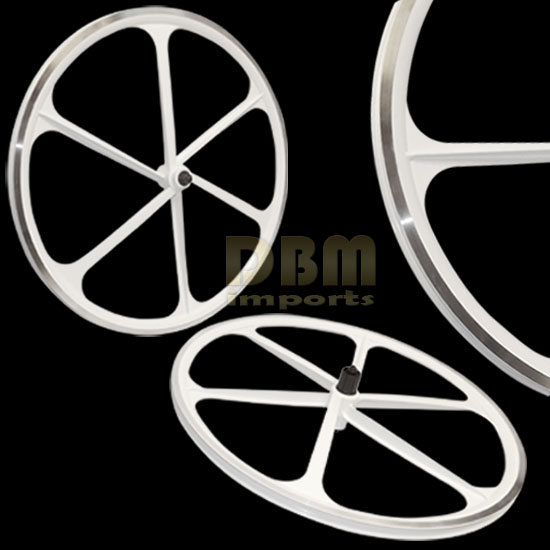 2 Teny ROAD BIKE RIM 700C x 23-25C Magnesium Alloy 6 Spoke Bicycle - White