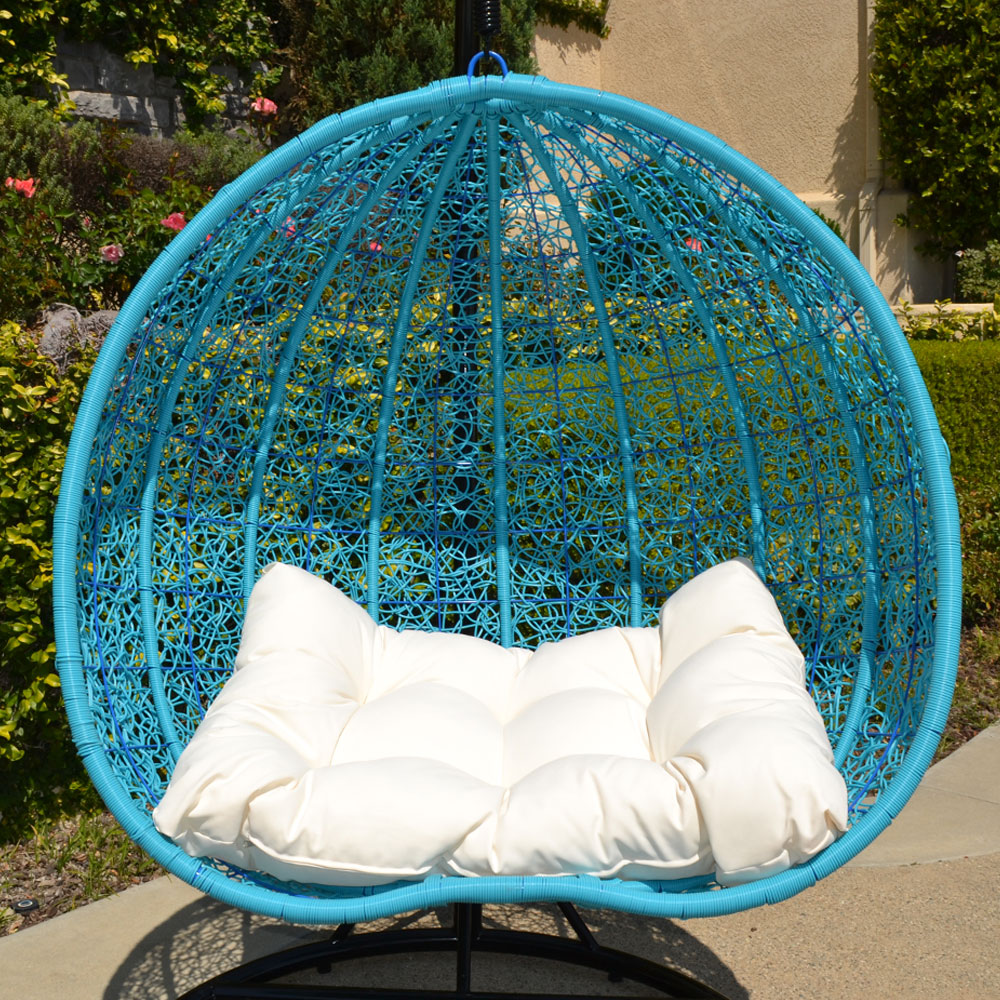 Turquoise Black Stand 2 Persons Seater Bird Nest Wicker