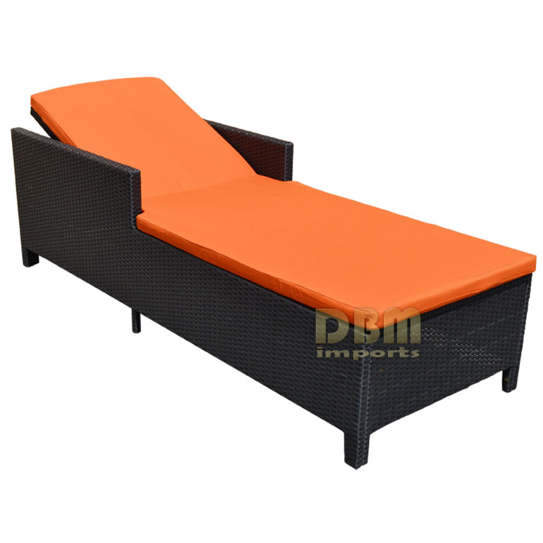 Black 1 person sunbed wicker rattan outdoor patio pool for Bamboo chaise lounge