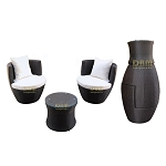 Black - 3 Piece Wicker Rattan VASE Stackable Coffee Table Lounge Chair Tempered Glass Top Indoor Outdoor Patio w/ Khaki & Orange Cushions