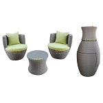 Gray - 3 Piece Wicker Rattan VASE Stackable Coffee Table Lounge Chairs Tempered Glass Top Indoor Outdoor Patio w/ LIME & RED Cushions