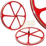 2 Teny ROAD BIKE RIM 700C x 23-25C Magnesium Alloy 6 Spoke Bicycle - Red