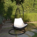 Black / Khaki  Egg Shape Wicker Rattan Swing Lounge Chair Hanging Hammock