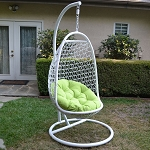 White / Lime Wicker Rattan Swing Chair Weaved Egg Shape Hanging Hammock