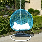 2 Persons Seater Bird Egg Nest Wicker Rattan Swing Lounge Chair Hanging Hammock In or Out Door Patio Porch - Turquoise / White Stand