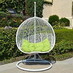 2 Persons Seater Bird Egg Nest Wicker Rattan Swing Lounge Chair Hanging Hammock In or Out Door Patio Porch - White / Lime
