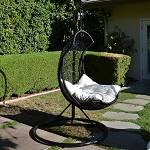 Black / Khaki  Egg Shape Wicker Rattan Swing  Chair Weaved Hanging Hammock