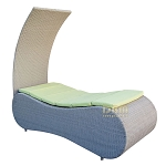 GRAY - Contour SUNBED Wicker Rattan Outdoor Patio Pool Lounge Chair Bed Removable Shade Canopy - LIME Cushion