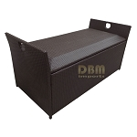 64x30x30 LARGE Resin Wicker Storage Box Patio Garden Deck Pool Chest Trunk Bin Rattan - Espresso