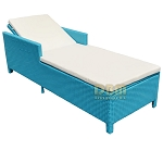 TURQUOISE - 1 Person SUNBED Wicker Rattan Outdoor Patio Pool Chaise Lounge Chair Bed - Khaki & Turquoise Cover