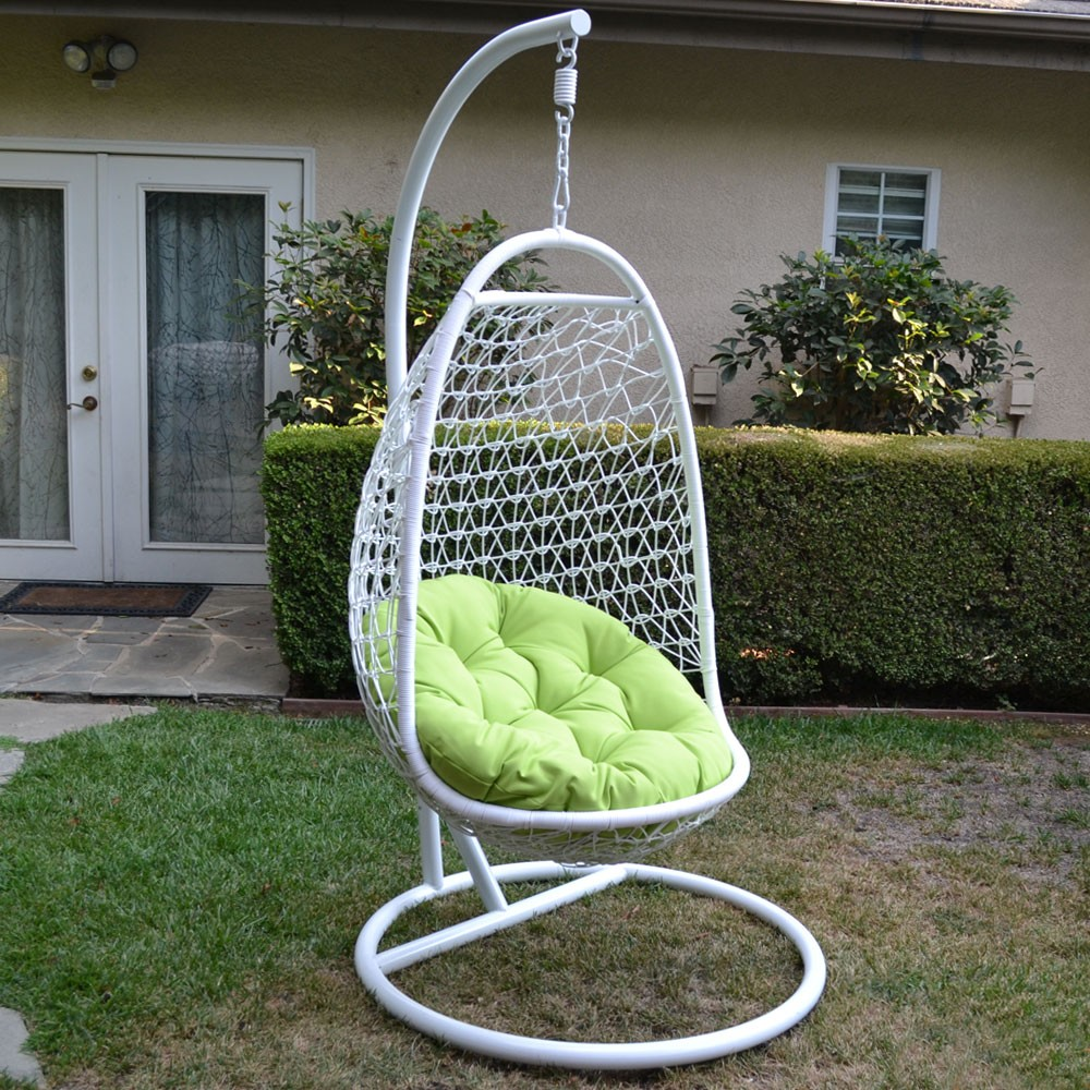 white lime wicker rattan swing chair weaved egg shape. Black Bedroom Furniture Sets. Home Design Ideas