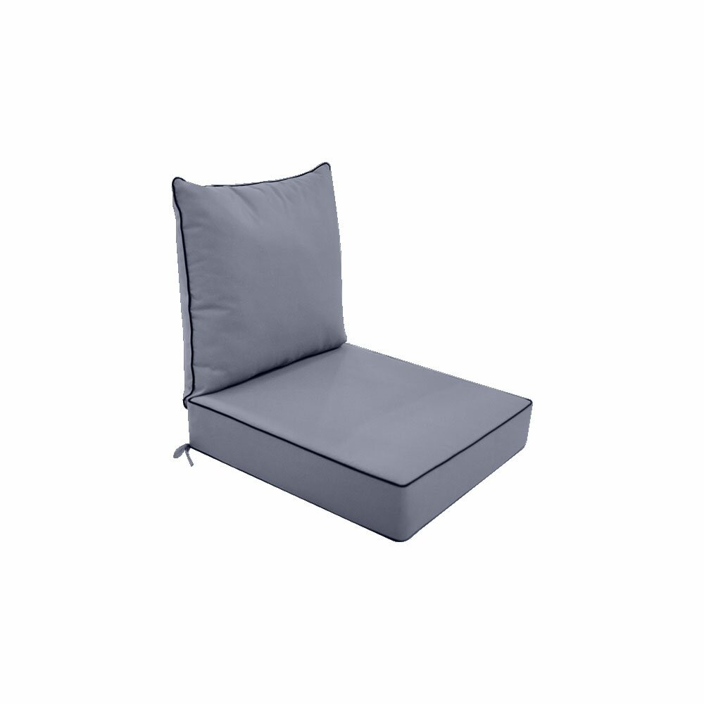 S1-AD001 Love Sofa Deep Seat Cushion 24 x 26 x 5 Back Rest Pillow Outdoor Polyester Water Repellent