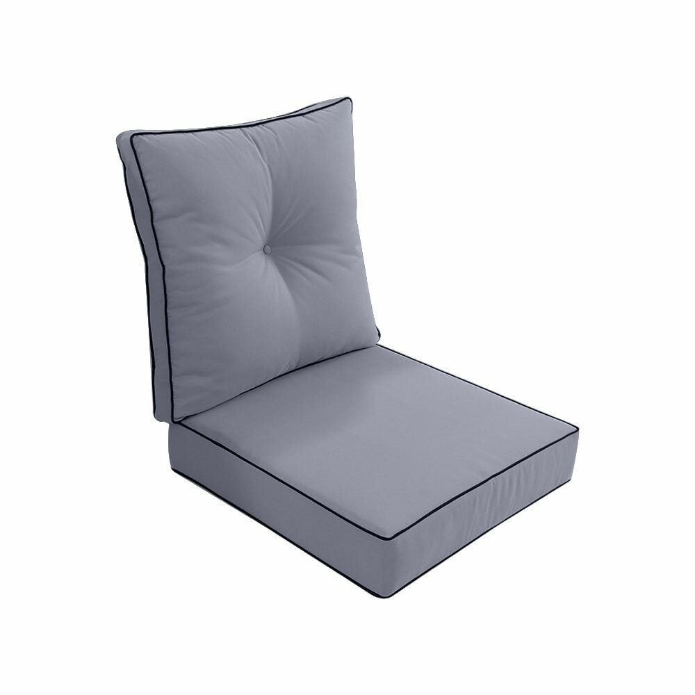 S3 - AD001 Love Sofa Deep Seat Cushion 24 x 26 x 5  Back Rest Pillow Outdoor Polyester Water Repellent