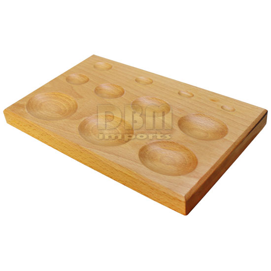 Double Sided 11 Cavity Hardwood Dapping Forming Block Oval Round Depression 24mm