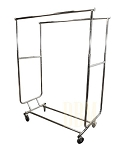 Double Parrallel Bar Adjustable Clothes Rack Hanger Retail  w/ SWIVEL WHEELS