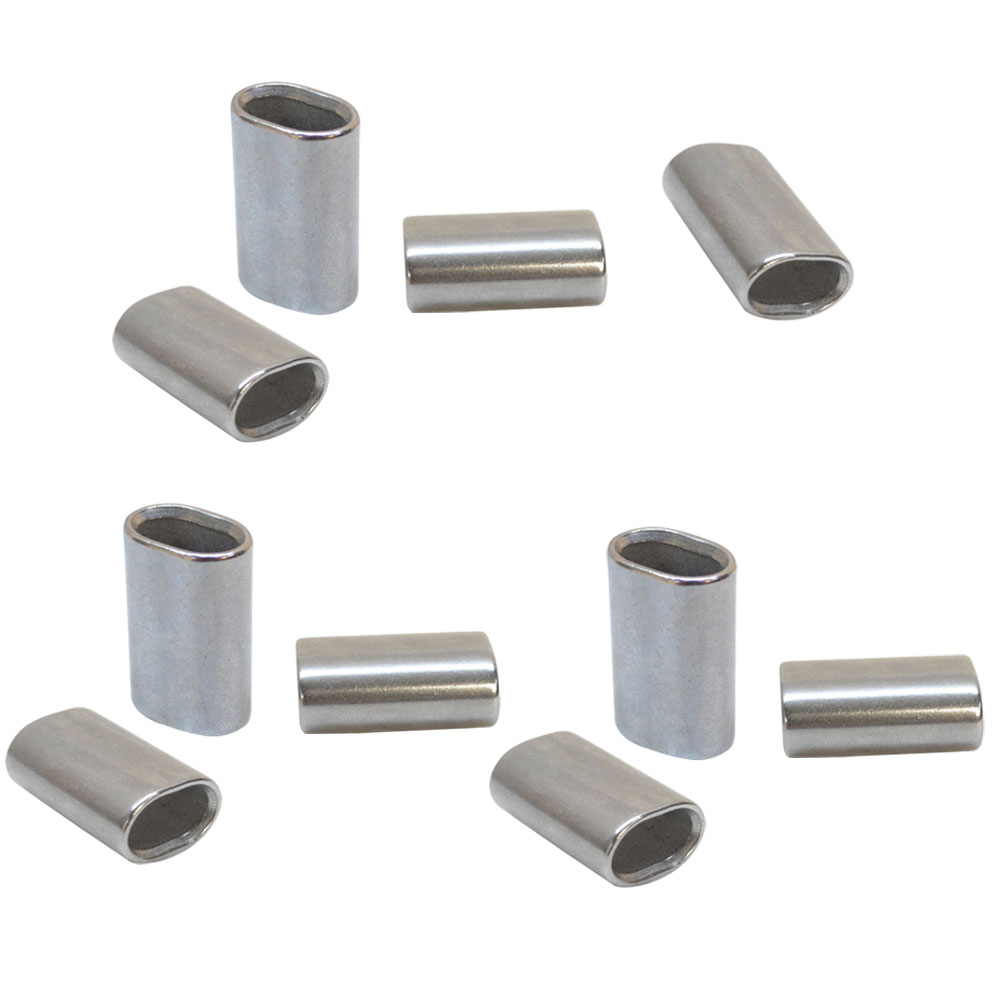 10 Pieces 1//16 Inch Stainless Steel 316 Marine Wire Rope Oval Crimping Sleeves