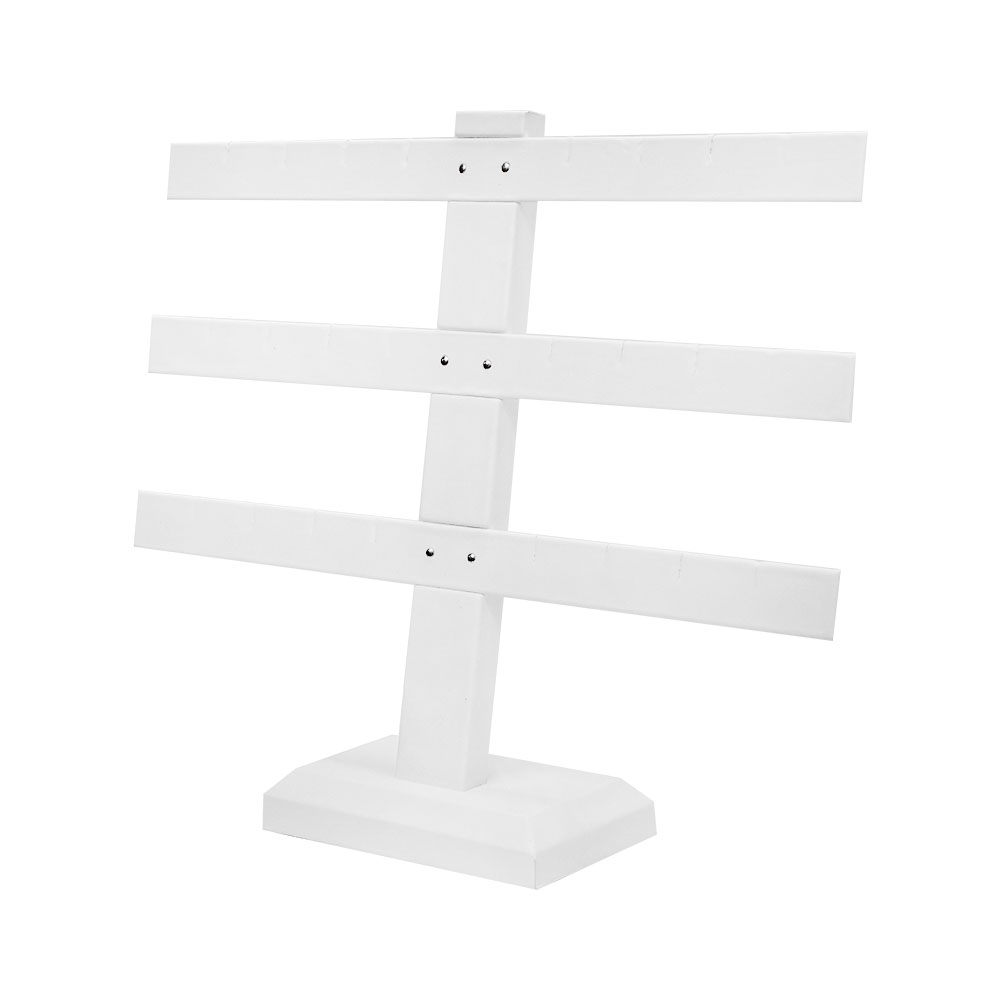 Display White Faux Leather 3 Bars Earring Jewelry Display Stand 10'' x 9''
