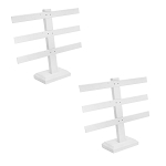 2 Pcs Display White Faux Leather 3 Bars Earring Jewelry Display Stand 10'' x 9''