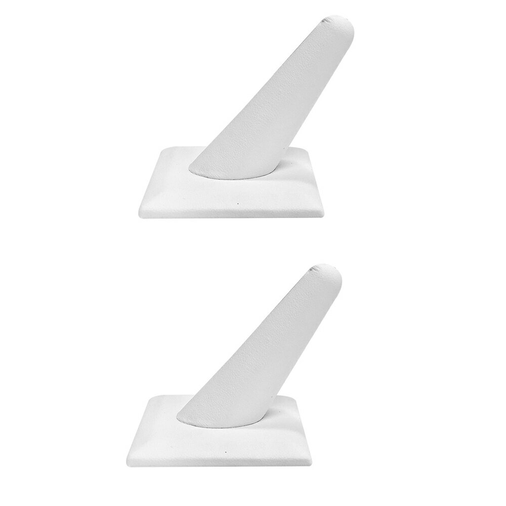 Set Of 2 Pc 2-1/8 x 2-1/8 White Faux leather Single Finger Ring Display Jewelry Showcase Retail Fixture