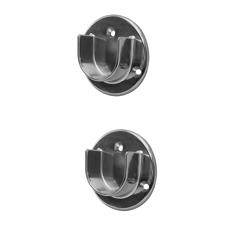 1-1/4'' Tubing U Chrome Finish Half Round Wall Flanges Fixture Hanger 2 Pc