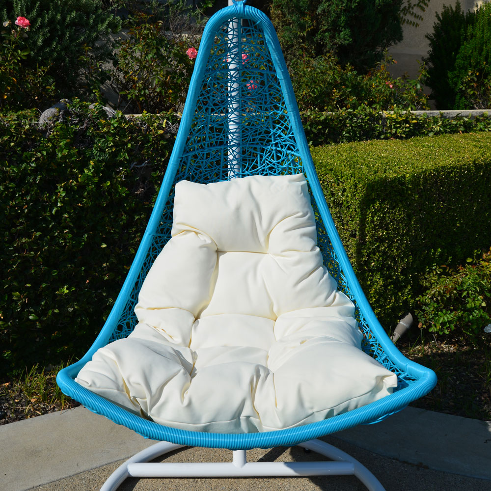 White Turquoise Egg Shape Wicker Rattan Swing Lounge Chair