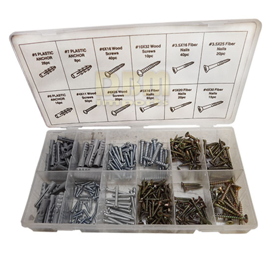 330 PCS Chip Board Screw Assortment Plastic Anchor Fiber Nails Wooden Screws