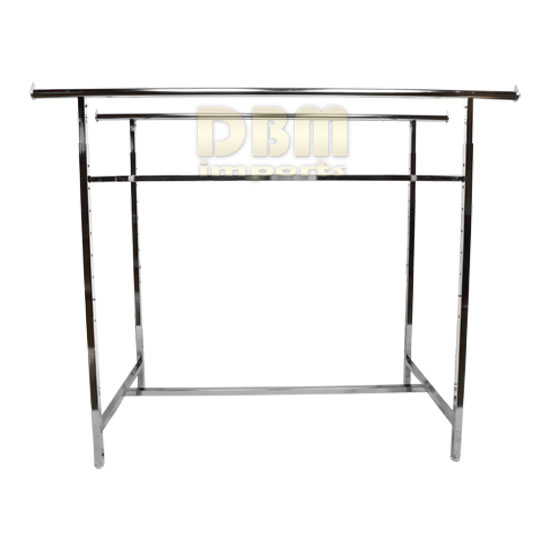 Double Parallel Bar Adjustable Clothes Garment Retail Display Rack Rail Hanger