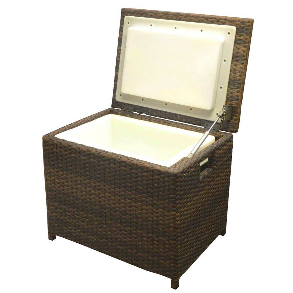 Portable Espresso Resin Wicker Ice Chest Patio Party Drink
