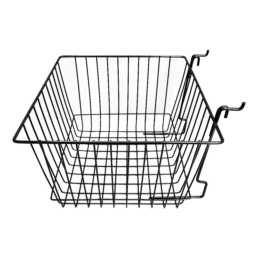 "6Pc 12""x 12""x 8"" Deep Basket Display Rack Black Metal Wire"