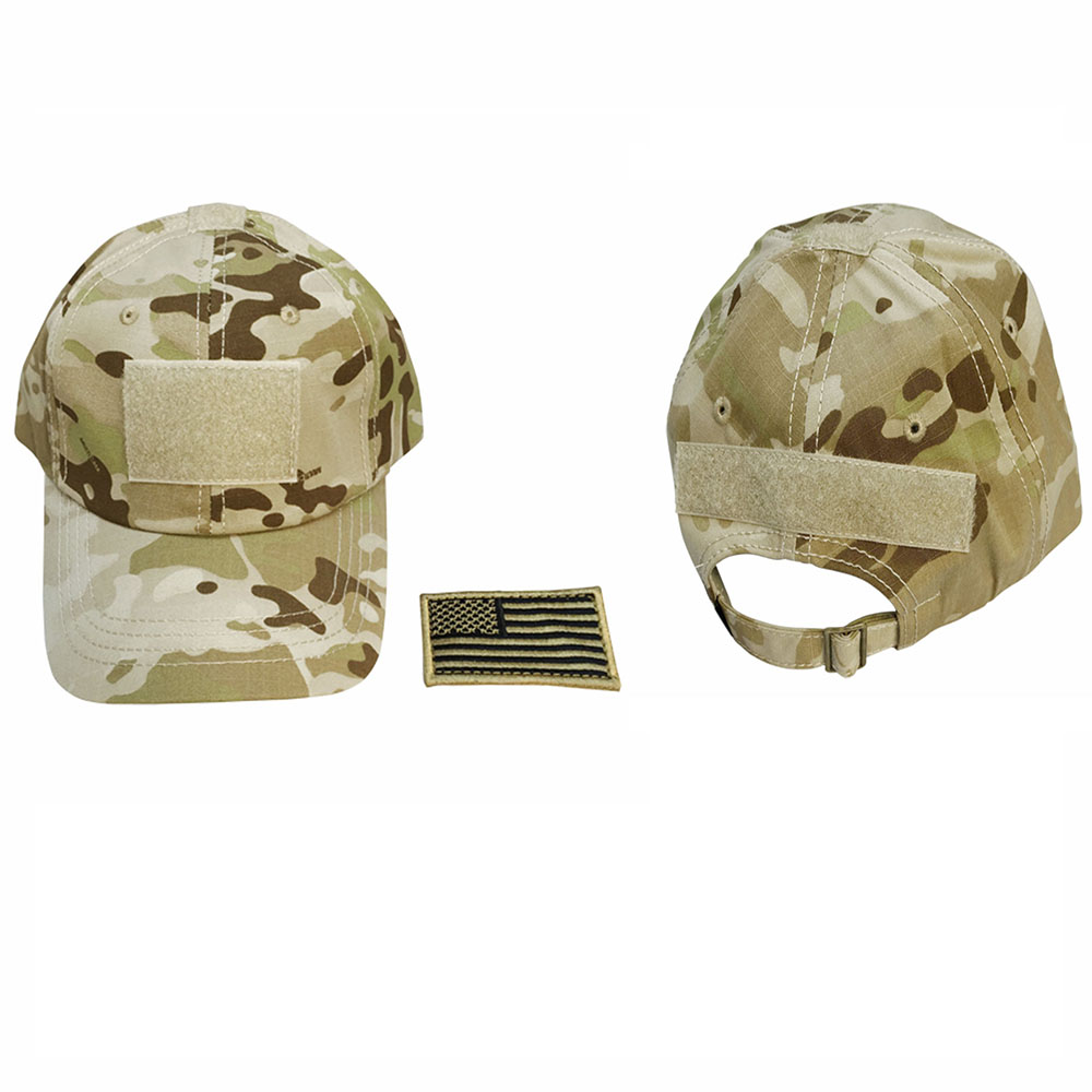 Tactical Operator Contractor Flag Patch Velcro Military Cap Hat- Multi-cam Arid