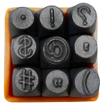 9 PC SYMBOLS Hand Marking Punch Die Stamps Jewelry Metal Steel Stamping 1/4