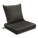 "24"" x 24"" x 6"" Dark Beige Outdoor Deep Seat Cushion W/ Back Rest Pillow Set Polyester Water Repellent"