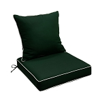 "24"" x 24"" x 6"" Green Outdoor Deep Seat Cushion W/ Back Rest Pillow Set Polyester Water Repellent"
