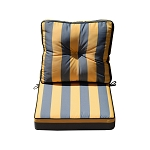 "24"" x 24"" x 6"" Silver/Gold Stripe Outdoor Deep Seat Cushion W/ Back Rest Pillow Set Polyester Water Repellent"