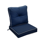 "24"" x 26"" x 6"" Blue Outdoor Deep Seat Cushion W/ Back Rest Pillow Set Polyester Water Repellent Double Pipe Trim"