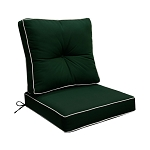 "24"" x 26"" x 6"" GREEN Outdoor Deep Seat Cushion W/ Back Rest Pillow Set Polyester Water Repellent Double Pipe Trim"