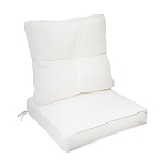 "24"" x 26"" x 6"" White Outdoor Deep Seat Cushion W/ Back Rest Pillow Set Polyester Water Repellent Double Pipe Trim"