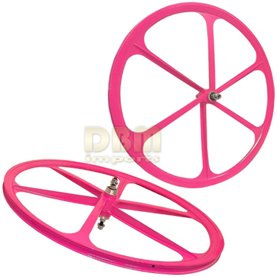 2 Teny FIXED GEAR RIM 700C x 25-38 Magnesium Alloy 6 Spoke Bicycle Bike - PINK