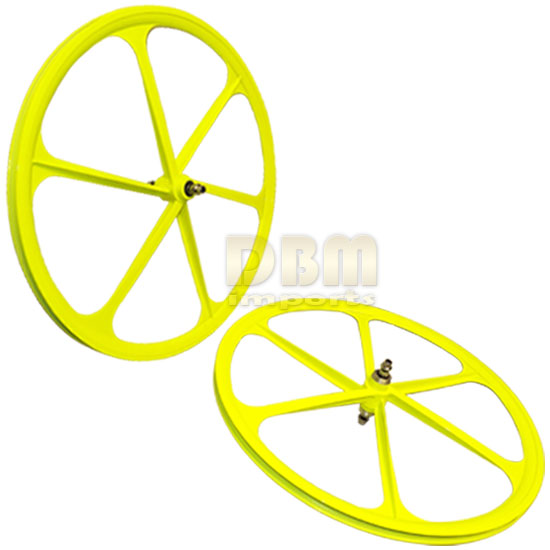 2 Teny FIXED GEAR RIM 700C x 25-38 Magnesium Alloy 6 Spoke Bicycle Bike - YELLOW