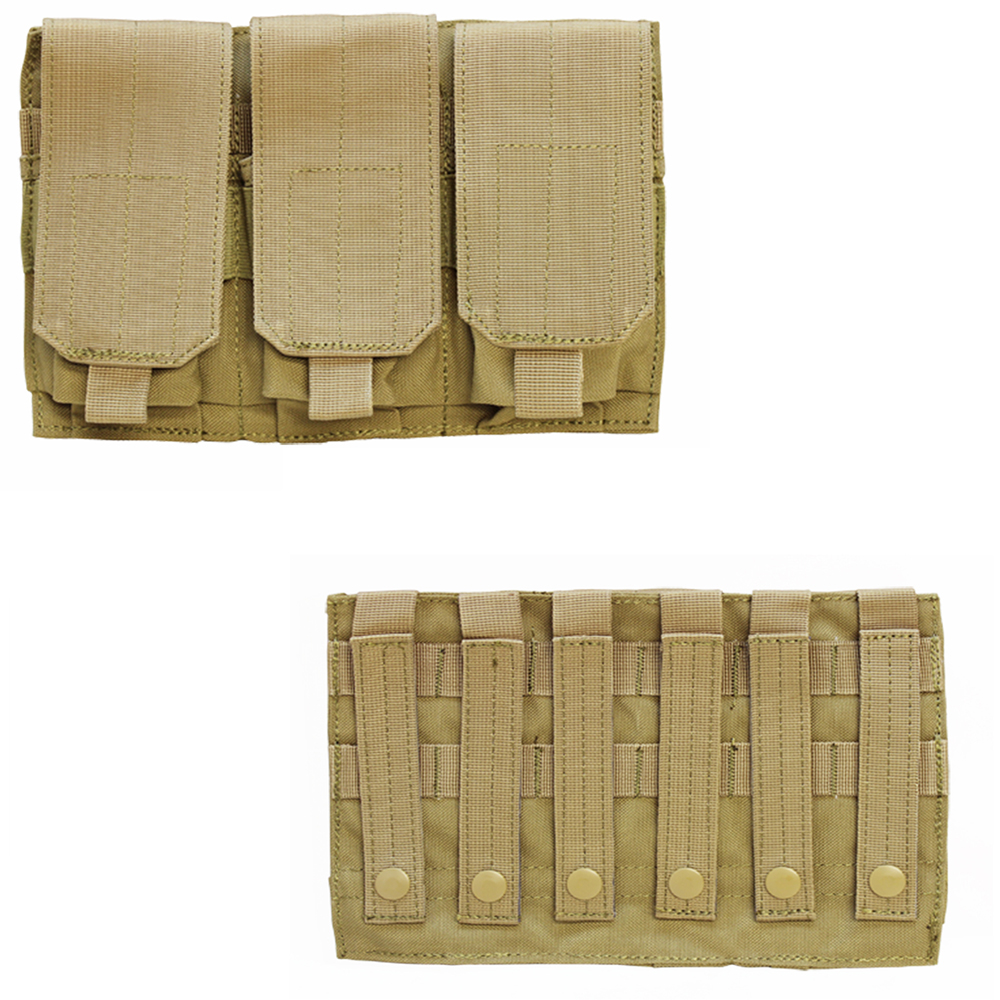 TAN - Tactical MOLLE PALS Triple .223 5.56 Mag Clip Magazine Pouch Holder