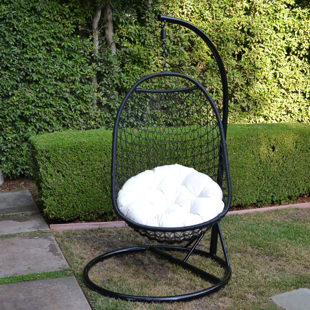 BLACK / Khaki Wicker Rattan Swing Chair Weaved Egg Shape ...