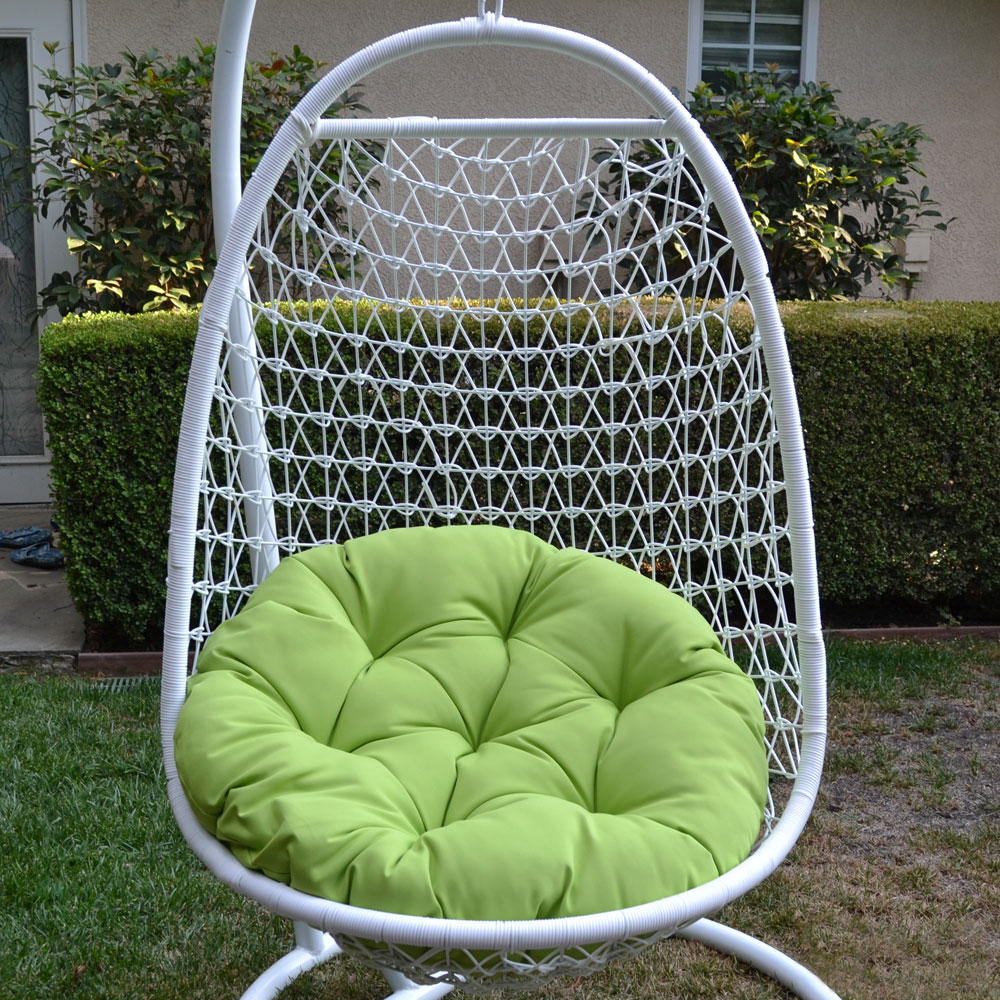 White / Lime Wicker Rattan Swing Chair Weaved Egg Shape ...