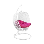 White Heart Shape Wicker Rattan Single Seater Swing Lounge Chair Weaved Hanging Hammock
