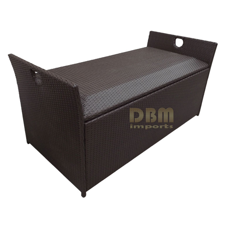 64x30x30 Large Resin Wicker Storage Box Patio Garden Deck